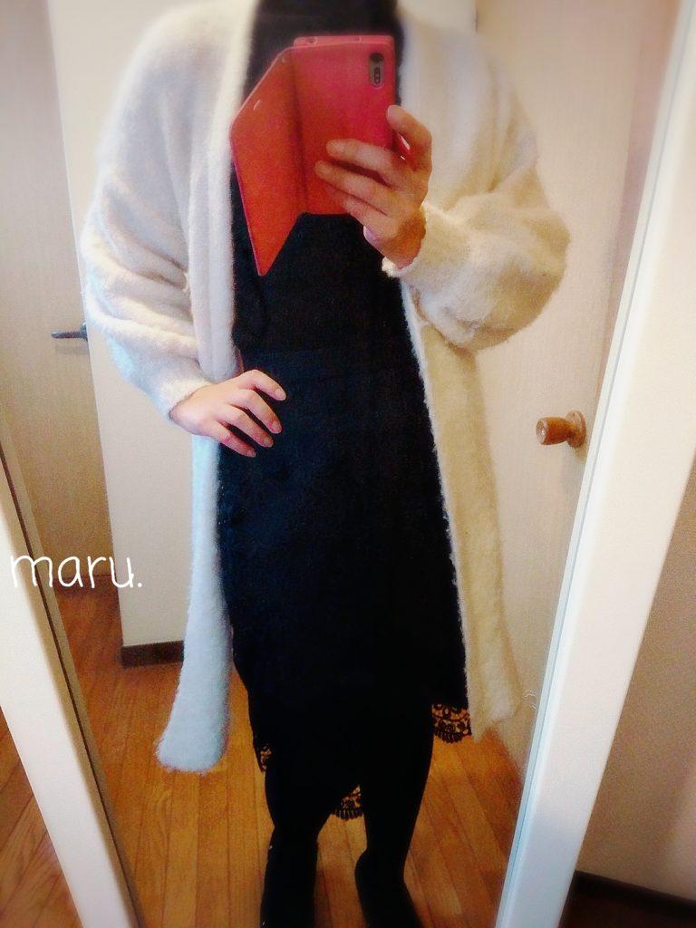 30代ママファッションコーデ,ブークレ,ロングカーディガン,ぽっちゃり下半身でぶ