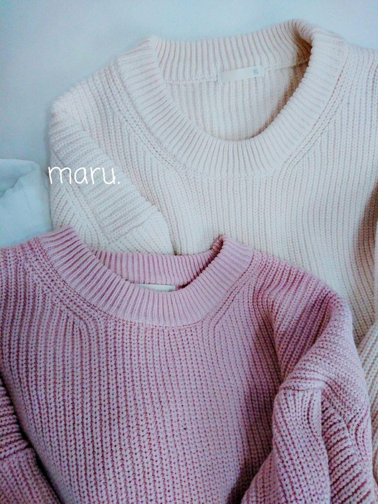 GUオーバーサイズクルーネックセーター,ぽっちゃり,30代ママファッション