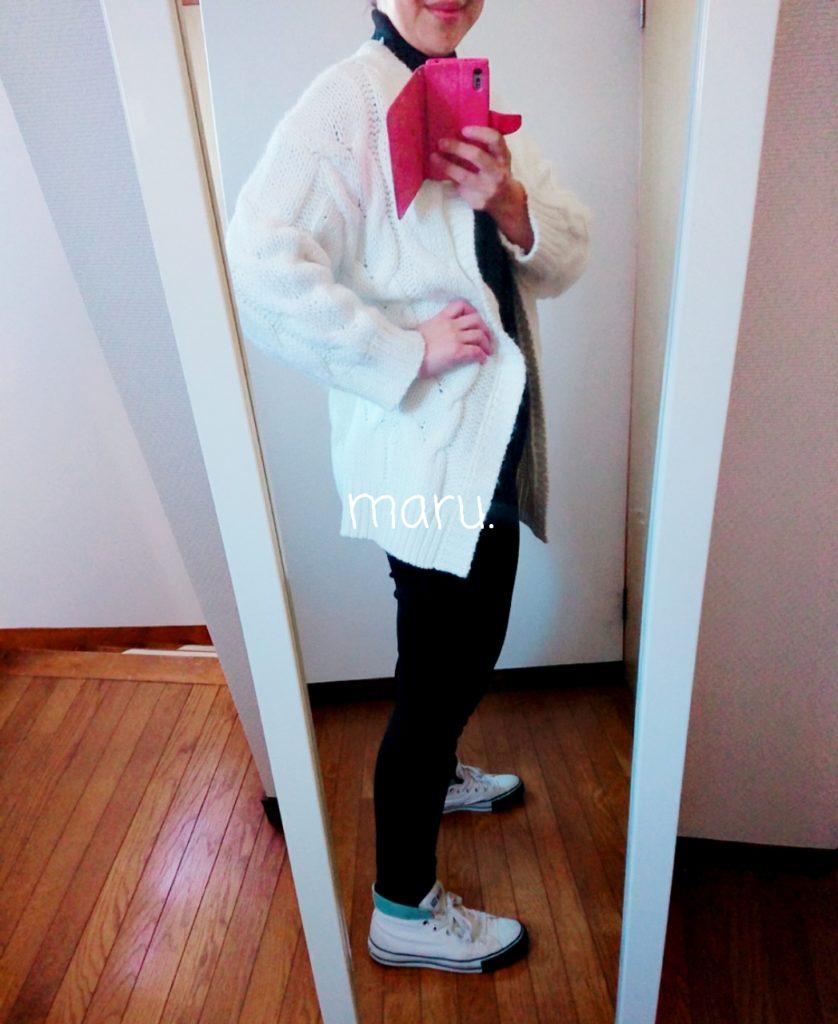 GUケーブルボーイフレンドカーディガン,サイズ感,がっしり体型,肩幅