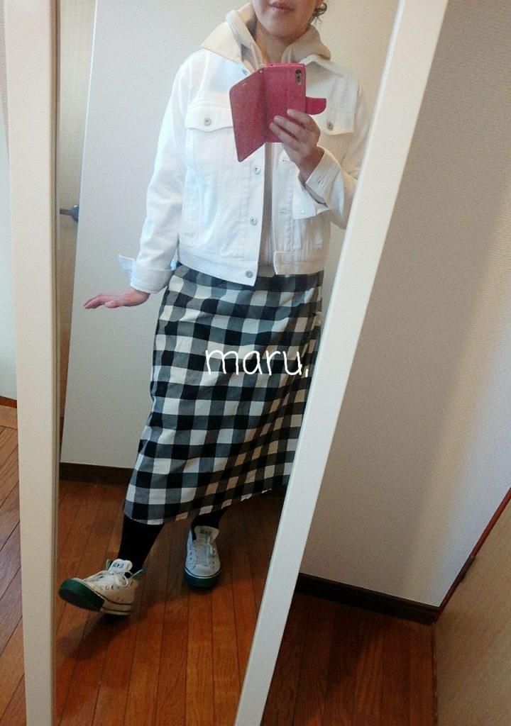 gu,白デニムジャケット,ぽっちゃり,がっちり体型,ジップアップ,春