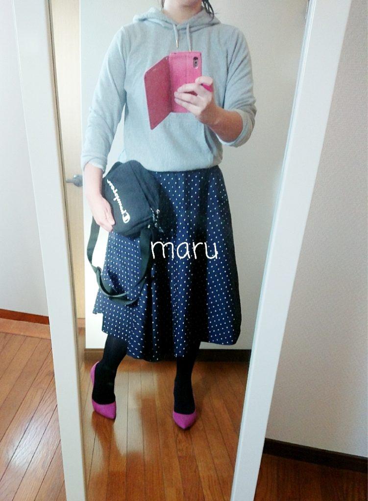 GU,ドット,サーキュラースカート,30代ママファッション
